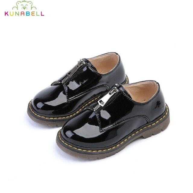 Весна Осень Дети Кожаные Shoes Мальчики Девочки Мода Англия Молния Shoes Дети Анти-Скользкой Chaussure Enfant Shoes C233