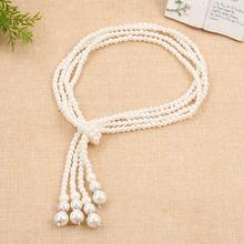 Fashion Double-layer Pearl Multi-layer Necklace for Women Knotted Tassels Wild Sweater Chain Long Choker Accessories