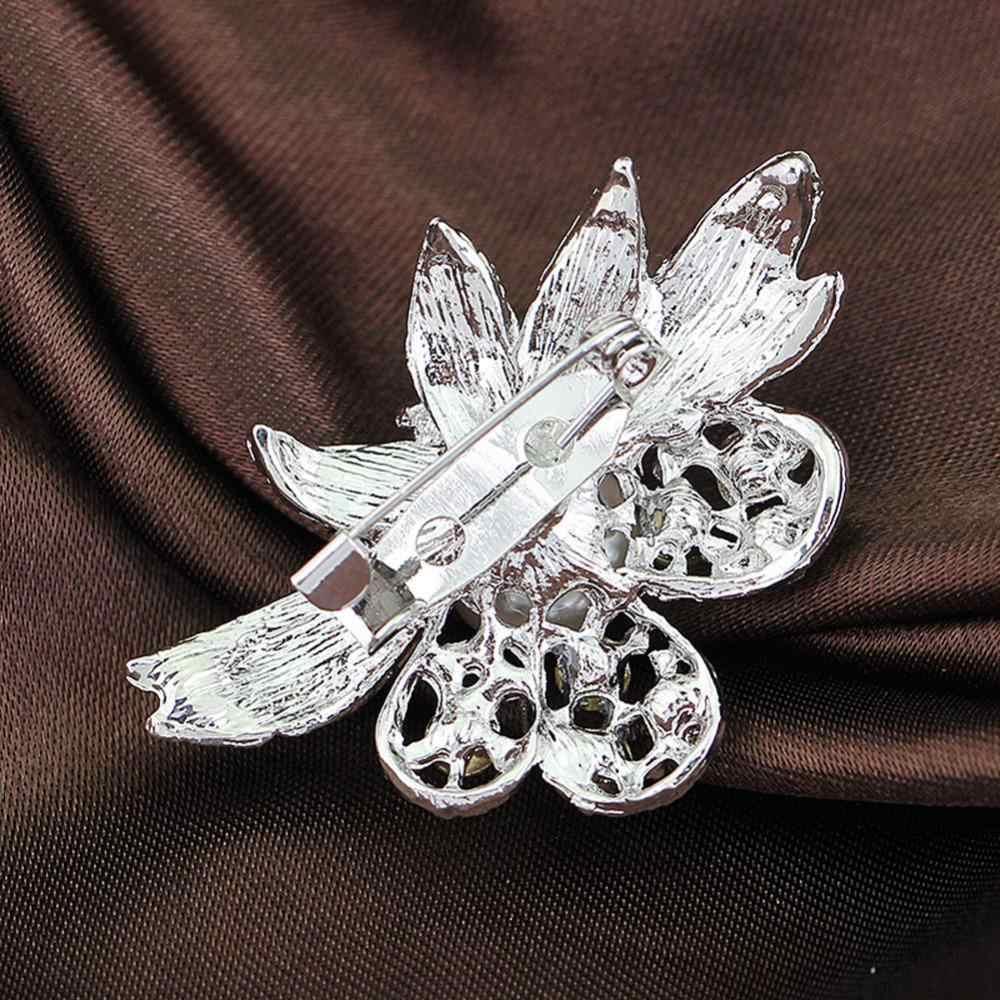 Wanita Dasar Elegan Kristal Mutiara Bunga Bros untuk Pesta Pernikahan Gaun Warna Hadiah Pin Bros