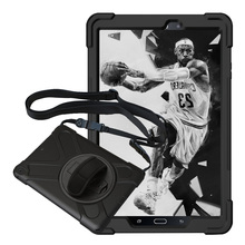 For Samsung Galaxy Tab A 2016 10.1 P580(w/S Pen) P585 Pirate Tablet Case Cover Silicone+PC Kickstand Case w/Wrist+Shoulder Strap