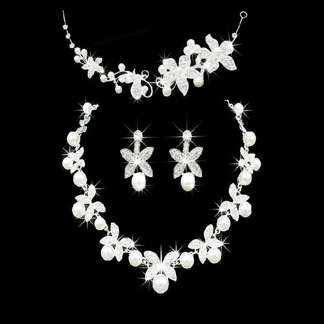 Pearl Jewelry Fower Headdress Bride Upscale Bridal Pearl Jewelry Bride Three-Piece Suit Jewelry Sets Bridal Jewellery