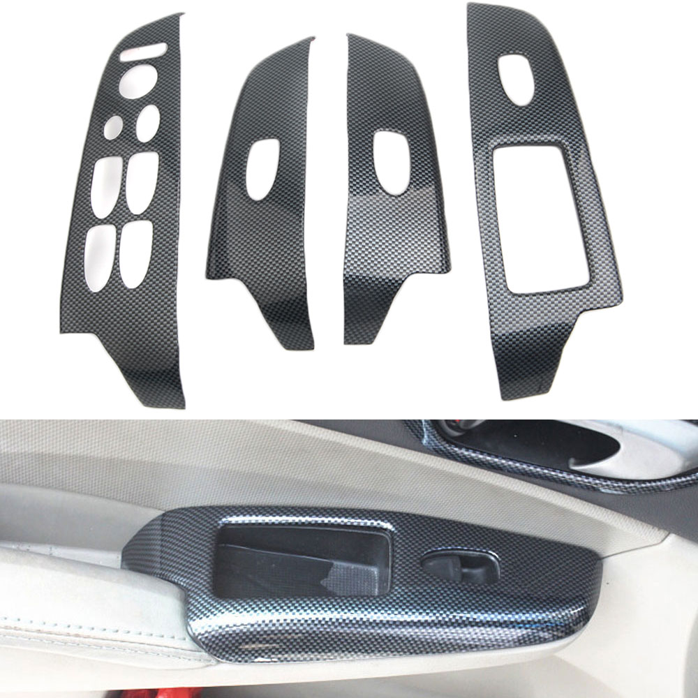 4xCarbon Fiber Door Window Lift Switch Button Cover Trim Panel For Camry Camry