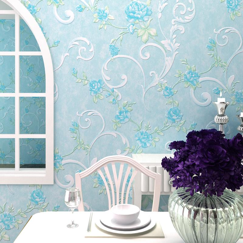 Free Shipping Waterproof Wallpaper For Bedroom Walls 3 D Embossed Red Pink Blue Flower Pattern Wall Paper Roll Home Decor In Wallpapers From