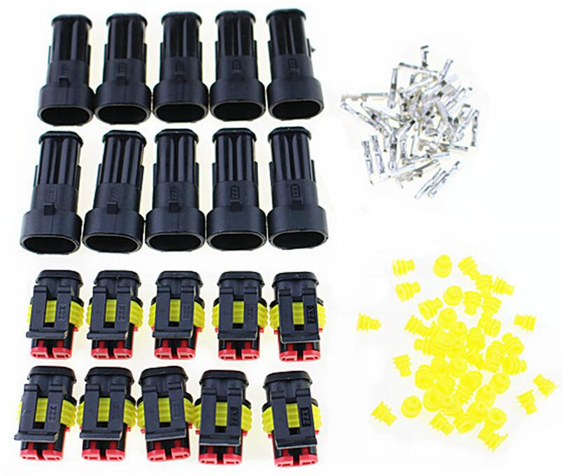 Promotion! 10 Kit 2 Pin Way Waterproof Electrical Wire Connector Plug цена
