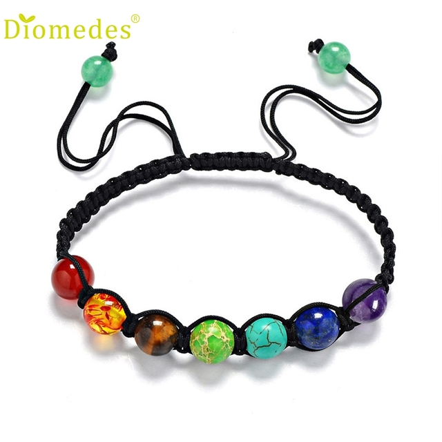Diomedes 7 Chakra Healing Balance Beads Bracelet Yoga Life Energy Casual Jewelry Por