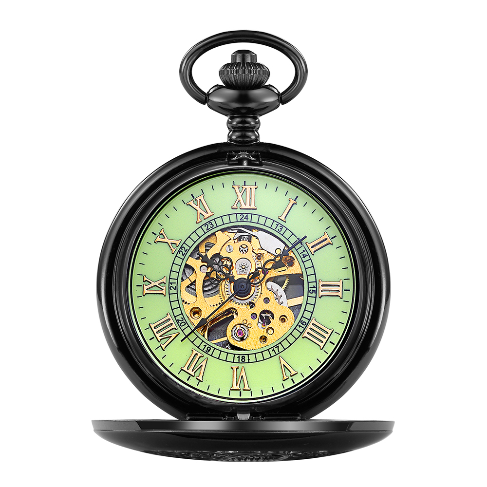 ORKINA Antique Male & Female Luminous Pocket Watch Black Case With Engraved Cover Mechanical Skeleton Fob Watch With Night Light