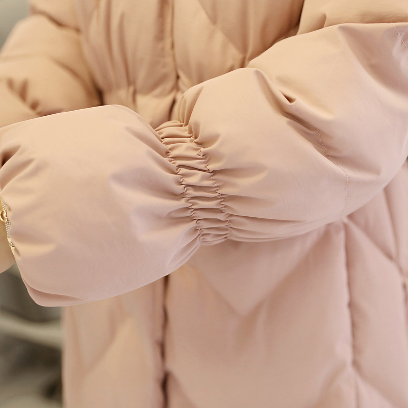 Mulheres Inverno Casaco Longo Para Baixo Casaco 2018 Moda Rosa Com Capuz Gola De Pele de Algodão Acolchoado Engrossar Parkas Mujer Magro Sobretudo Ls10 - 6