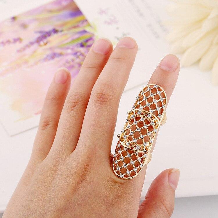 Fashion Rock Hollow Out Joint Rings 2017 Women Charm Shiny Full Rhinestone Metal Kreuz Cross Art Finger Knuckle Rings