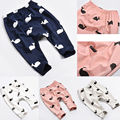 Moda Bebé Niños de la Ballena de la Historieta 100% Cotton Pants Pantalones Leggings