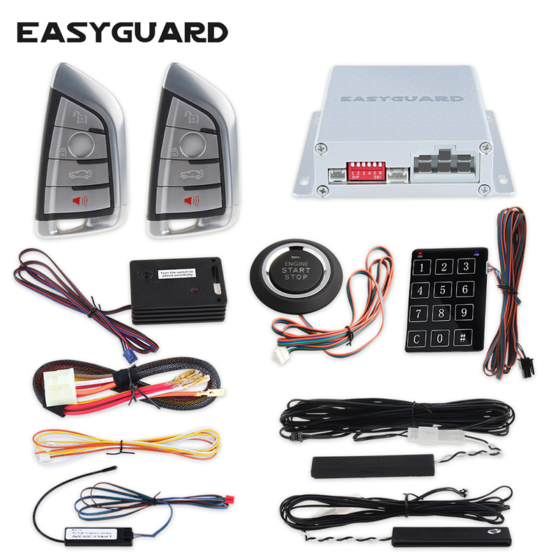 Easyguard Smart key keyless go car alarm system remote engine start push button start touch password entry DC12V vibration alram easyguard push button start pke car alarm system remote engine start stop touch password entry window close output keyless go