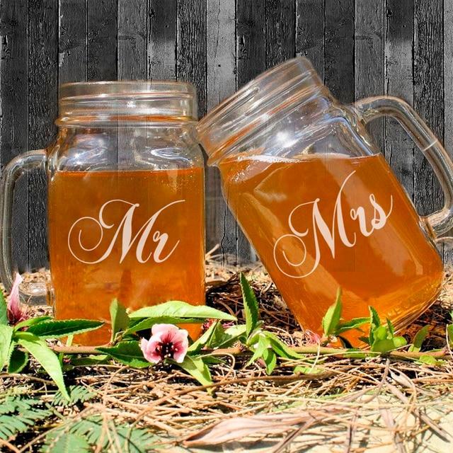 US $32 99 |Rmantic Valentine's Day Gift of Mason Jar Handle Mr Mrs  Anniversary Memory 450ML Mason Jars Bulk Water Juice Beverage Container-in  Storage
