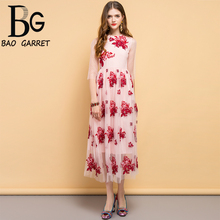 купить Baogarret Fashion Designer Summer Dress Women's Floral Embroidery Mesh Overlay Elegant Vintage Ladies Party Long Dresses дешево