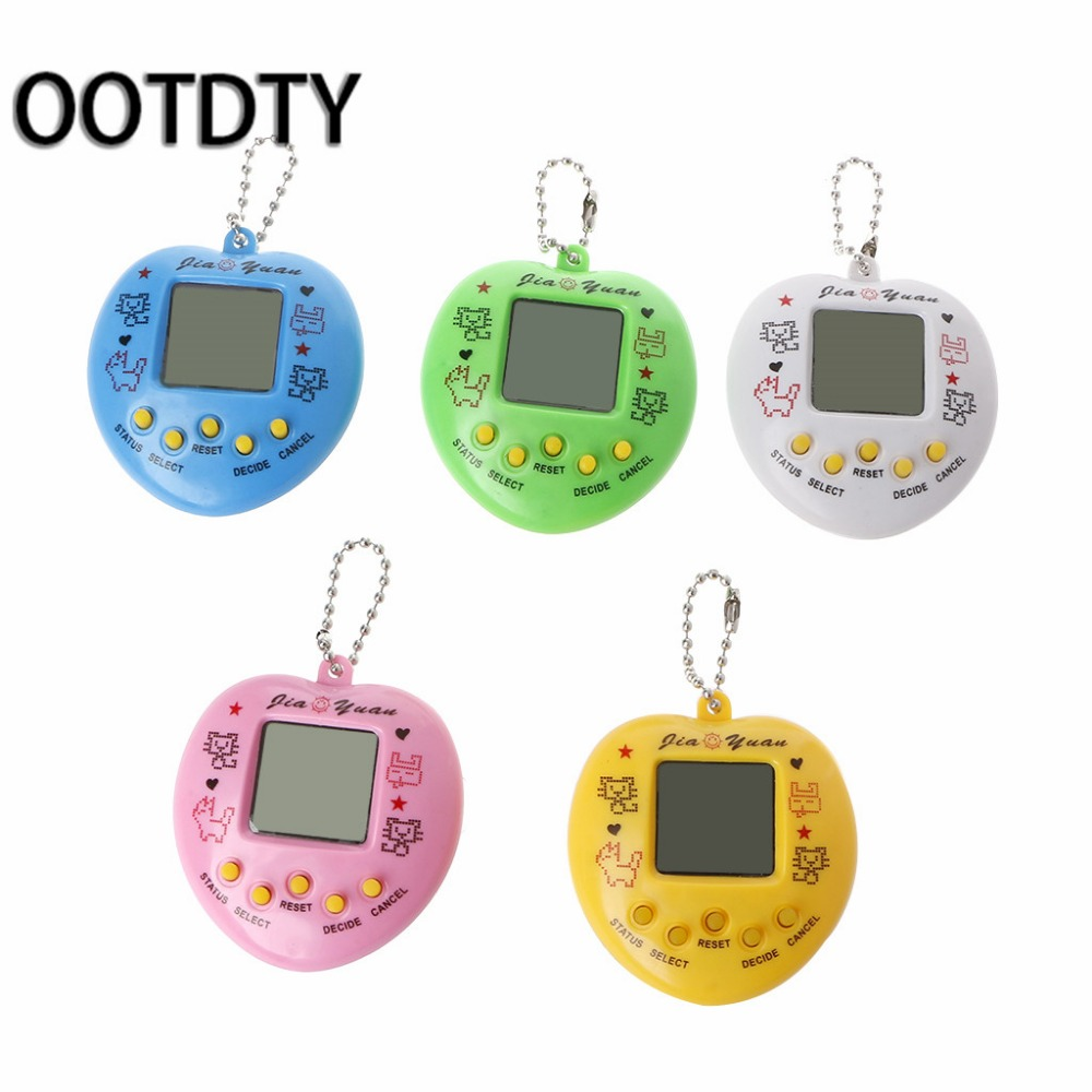 LCD Virtual Digital Pet Handheld Electronic Game Machine With Keychain Heart Shape great gifts for children and friends