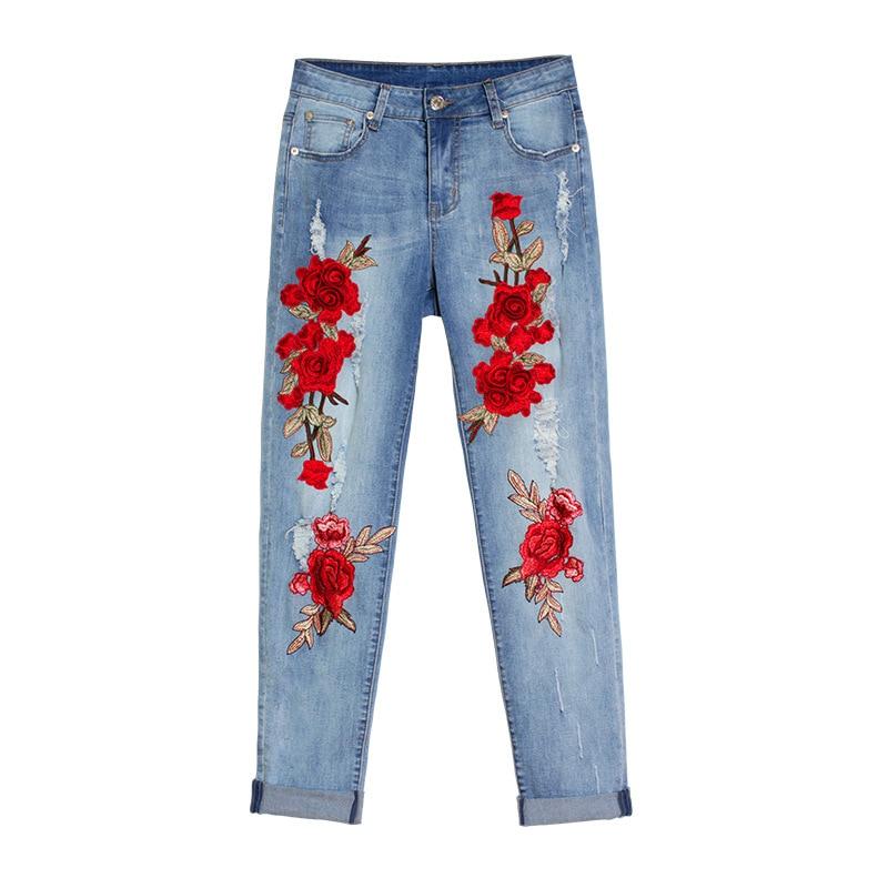 Denim am081 Taille Jeans Fleur Dreamtach Femelle Mi Pantalon New Lâche Trou Longue Cy30 Broderie Casual La Brand Femmes Stretch Plus HSwf0vHq
