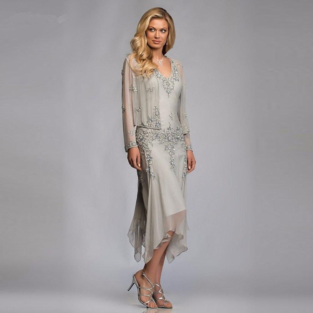 Gorgeous Silver Chiffon Appliques Lace Tea Length Mother Of The Bride Dresses With Jacket Pant Suits Deep V-neck