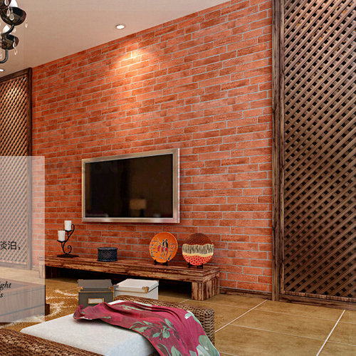 D Stone Brick Wallpaper Photo Wall Paper Red Designer Vintage - 3d brick wallpaper living room