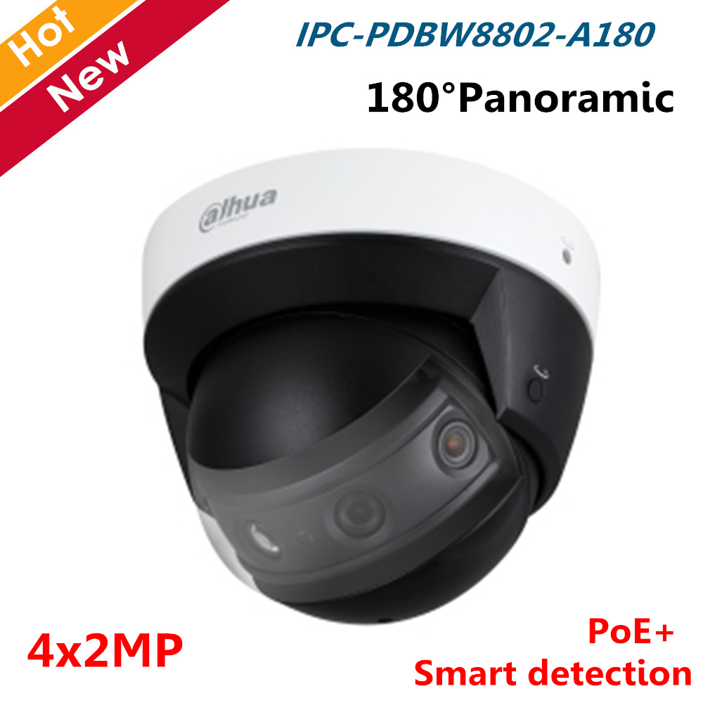 Dahua Panoramic IR Dome Network Camera IPC-PDBW8802-A180 4x2MP Multi-Sensor Smart Detection 180 Degree PoE IP Camera