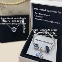 6pcs Fashion Jewelry Set S925 Silver Blue Sky Series CZ Dangle Charm and Bracelet Necklaces Set Jewelry Making Woman Gift