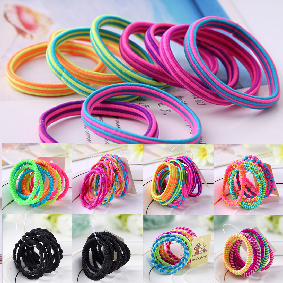 10PCS/Lot Girls Hairband Colorful Elastic Hair Band Lovely Hair Ropes Ponytail Holder Headwear Hair Accessories Candy Color 50pcs korean candy color headwear hair ring ropes ponytail holder disposable elastic hair bands for girls hair accessories
