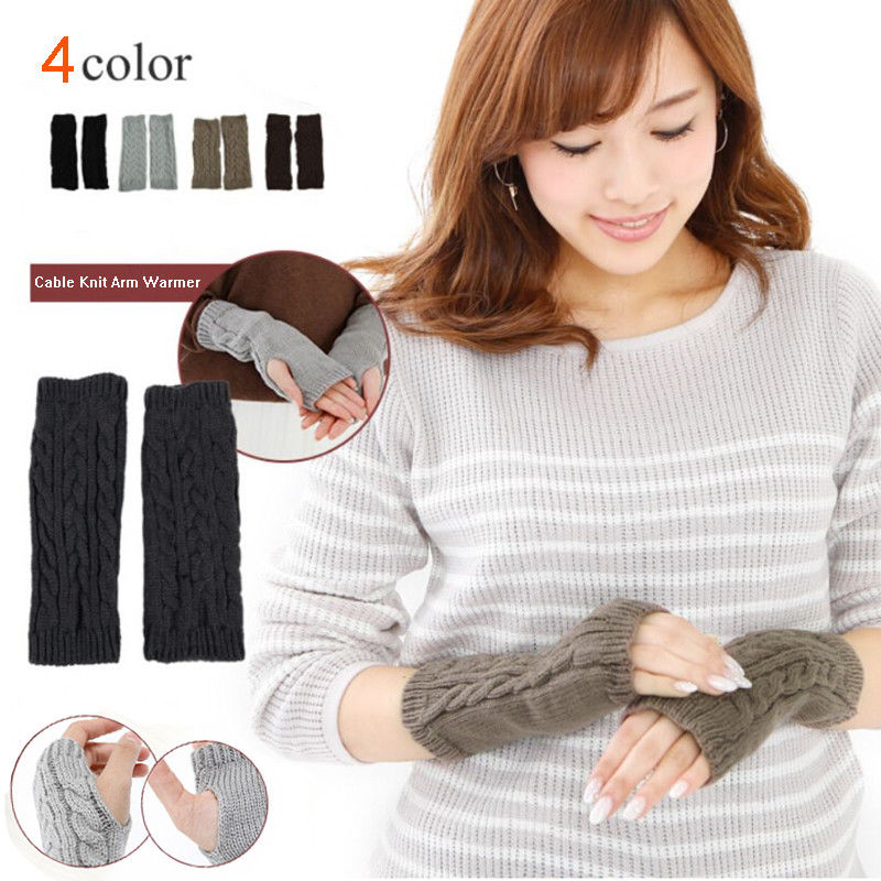 Newest Arrivals Fashion Hot Women Girls Knitted Long Fingerless Gloves Mittens Winter Wrist Arm Hand Warmer