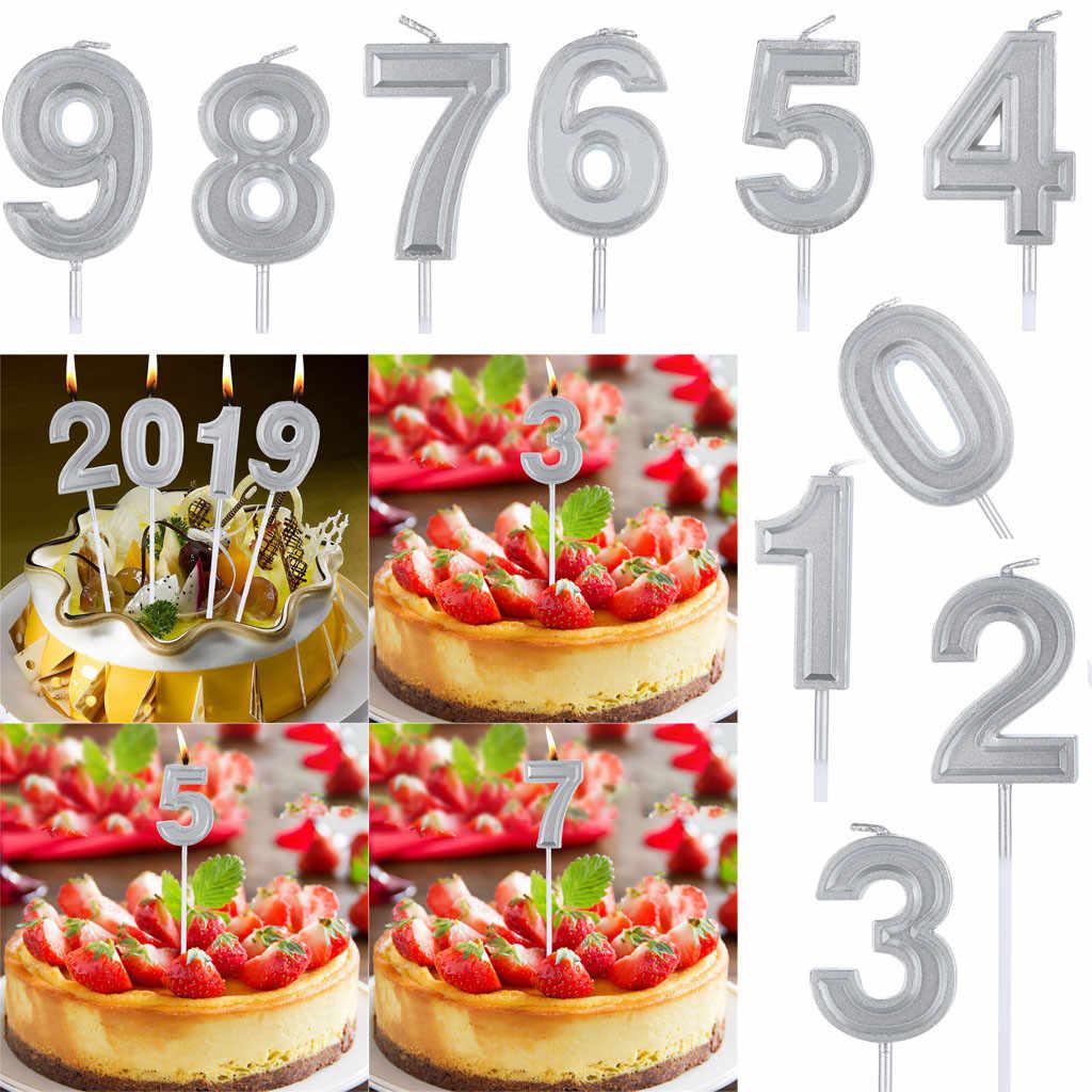 серебряный номер 1 цифра свечи номер торт декор для взрослых