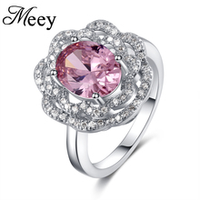 Best-selling new standard 925 Sterling Silver Lady ring classic fashion pink gemstone engagement anniversary gift party