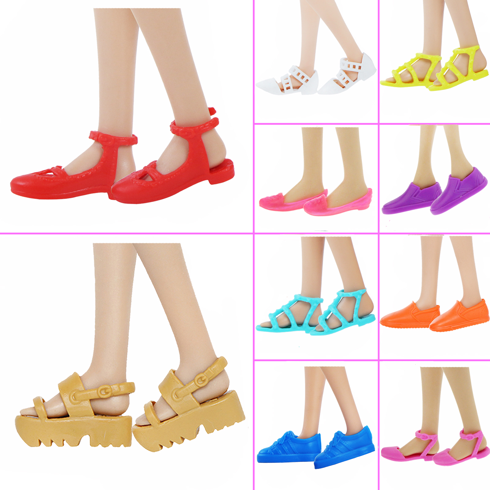 1 Pair Fashion Daily Sneakers Flat Shoes Flats Sandals Pumps For Barbie Doll Summer Dress Clothes Accessories Kids Toy