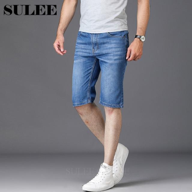 fe7247989fc 2018 Men Business Summer style Casual Knee Length Denim Short Men Mid-waist  Cotton Light Water Wash Jeans Men