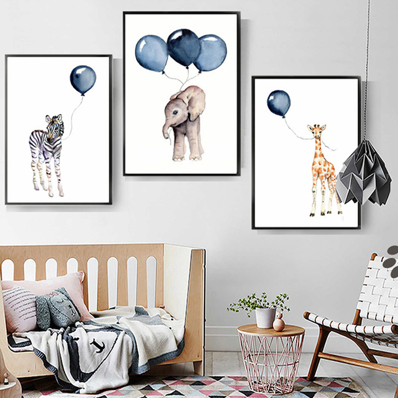 Nordic Cartoon Baby Animals Canvas Paintings Nursery Blue Balloon Art Poster Zebra Elephant Print Wall Pictures Kids Room Decor