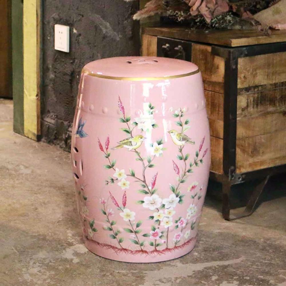 все цены на Beautiful flower and bird design ceramic bedroom furniture seat stool for decoration онлайн
