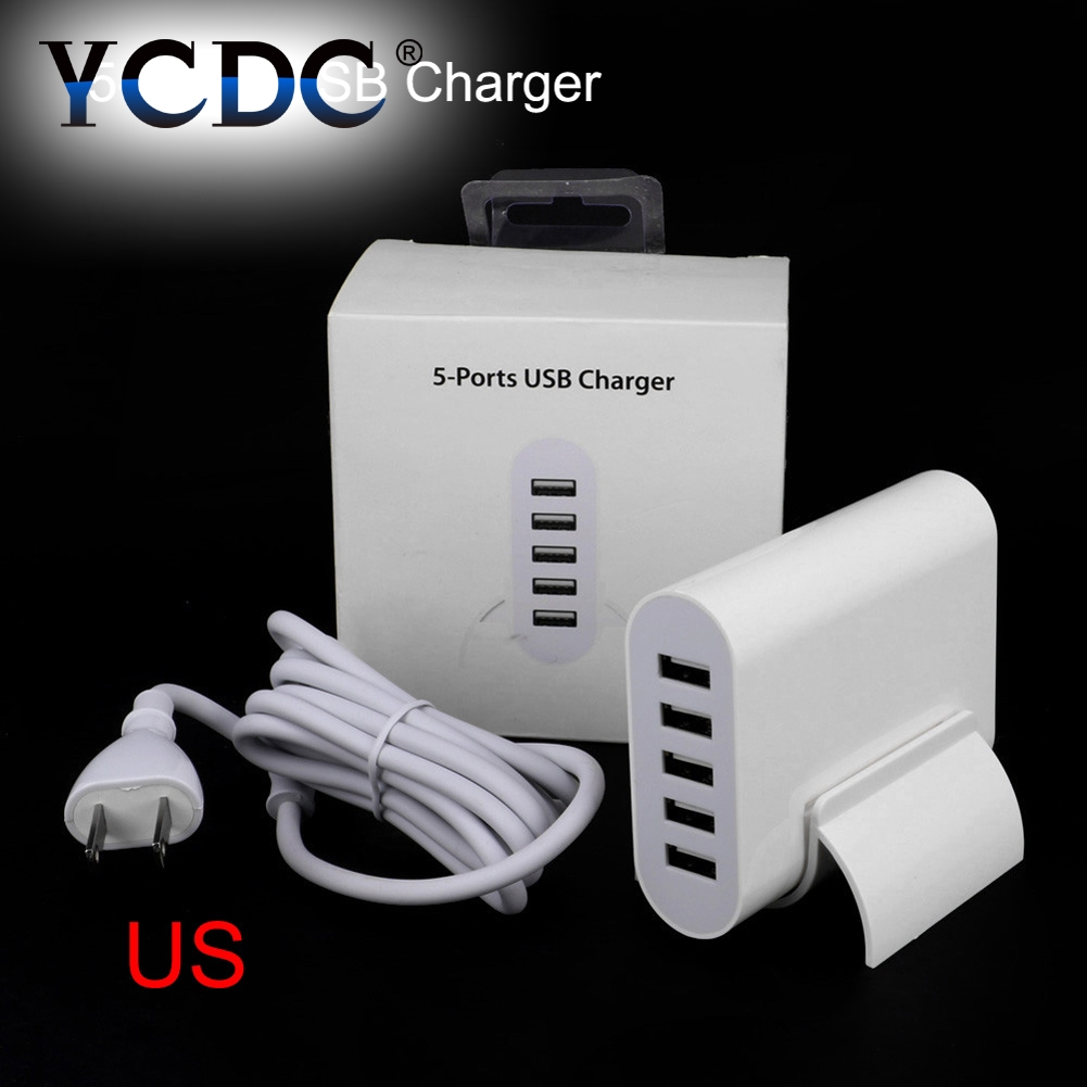 YCDC 5 USB Port Multi-function Wall Dock Charger EU US Plug Phone USB Power Adapter For iPhone 6 Xperia Xiaomi Charging Device dock connector to usb cable