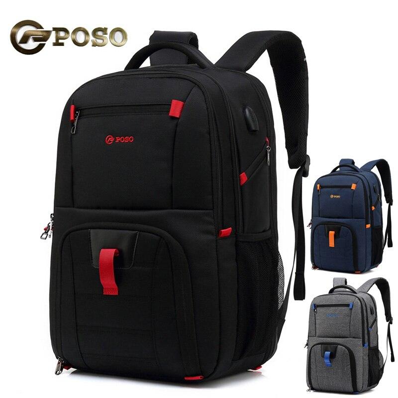 Décontracté grande capacité USB Charge hommes sac à dos en Nylon étanche Anti-vol 17.3 pouces sac à dos pour ordinateur portable hommes Sports sacs de voyage
