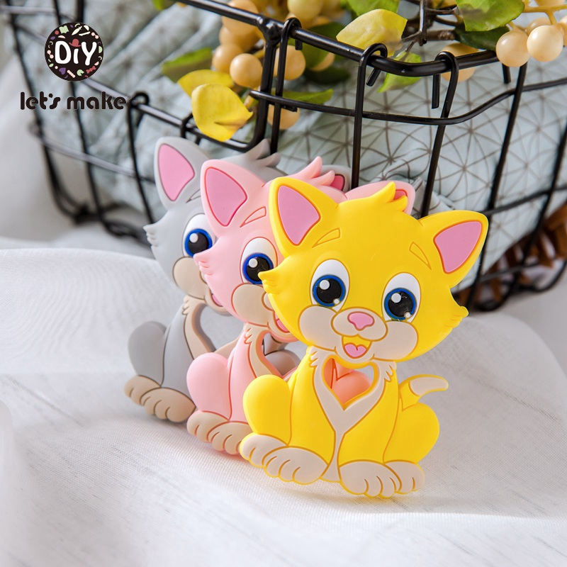 Let's Make 5pc Baby Teethers Food Grade Silicone Cat Animal Bpa Free Baby Teething Toy 7-9months Infant Nursing Silicone Teether
