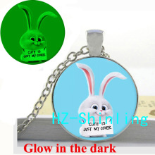 Glowing Pendant The Secret Life of Pets Necklace Lovely Rabbit Jewelry Pet Glow in The Dark Pendant Glass Dome Necklace