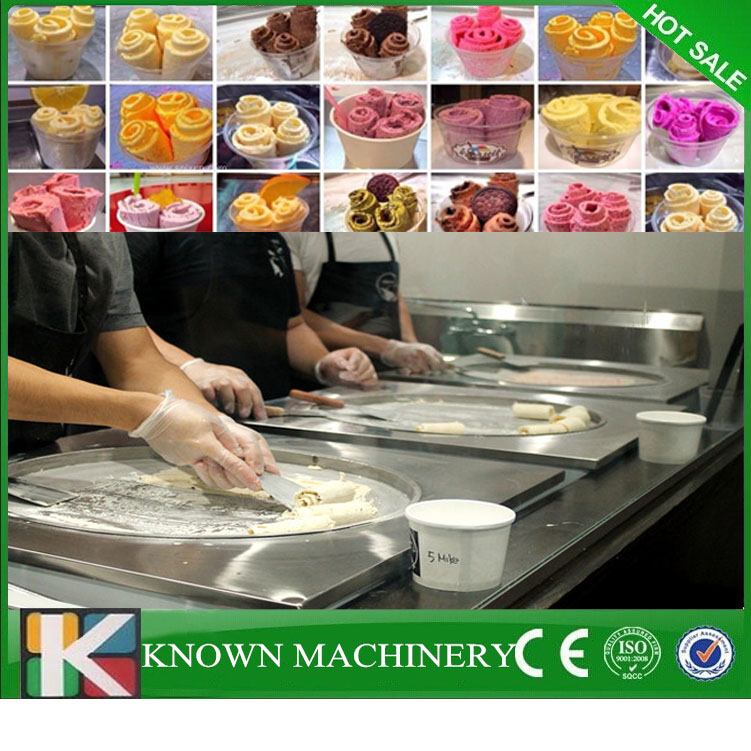 Single Round Pan With 6 Cooling Food Tanks Temperature Control Factory Supply Fried Ice Cream Machine Rolling