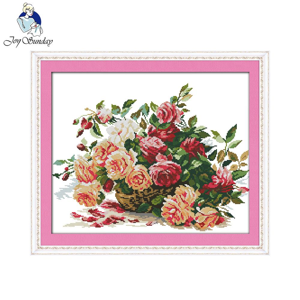 Joy Sunday A basket of roses Needlework DIY Cross stitch Sets For Embroidery kits home decor Cross-Stitching factory direct sale