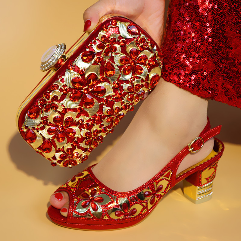 Red African Women Shoe and Bag to Match Set Decorated with Rhinestone New Design Italian Shoe and Bag Set for Party and Wedding