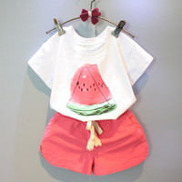 Girls Clothing Sets 2016 New Summer Girls Clothes Watermelon Pattern Print White T Shirt Red Shorts
