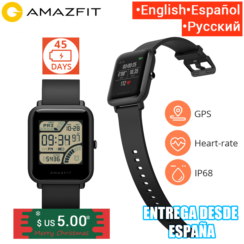 Amazfit Bip Smart Watch [English Version] Huami GPS Smartwatch Android iOS Heart Rate Monitor 45 Days Battery Life IP68