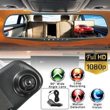 HD 1080P 2.8 inch LCD Display Screen 90 Degree Rear view Mirror Dash Cam Camera Video Recorder Night Vision DVR