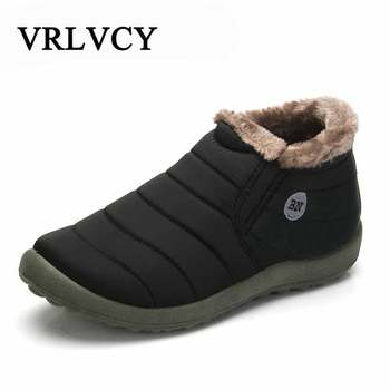 New Fashion Men Winter Shoes Solid Color Snow Boots Plush Inside Antiskid Bottom Keep Warm Waterproof Ski Boots Size 35 - 48