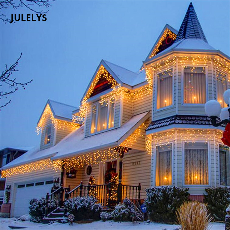 JULELYS 6 x 0.7M 158 Bulbs LED Curtain Lights Christmas Garland Fairy - Holiday Lighting