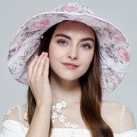 자수 꽃 방풍 접이식 양산 캡 여성 핑크 큰 나비 넥타이 우아한 태양 모자 여성