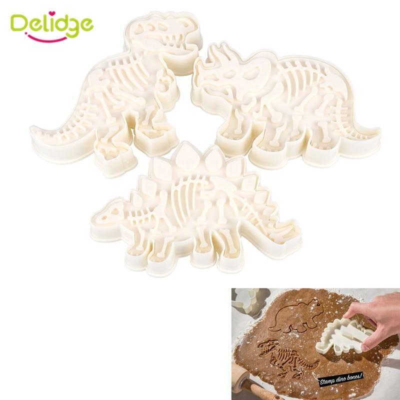 Delidge 3pcs/set Dinosaur Shaped Cookie Cutter Mold 3D Biscuit Fondant Dessert Baking Mould Fondant Cake Decorating Tools