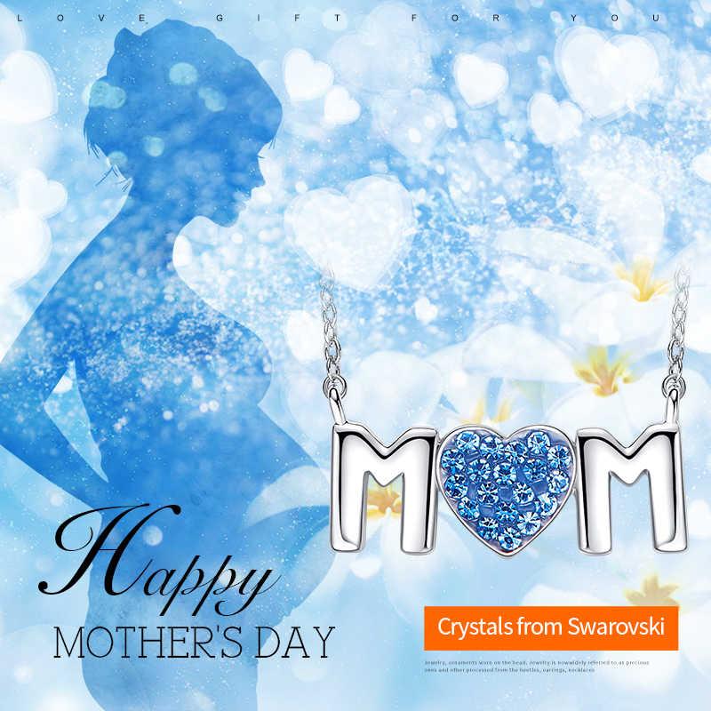 Cdyle Rose Gold Mom Ketting Versierd met kristallen Moeder Gift Rose Gouden Sieraden Hart Kristal Collares