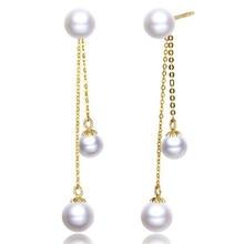 18K Yellow Gold Drop Earrings Natural Cultured Freshwater Pearl Earrings For Women Wedding Long Dangle Ear Wear Jewelry Gifts цена