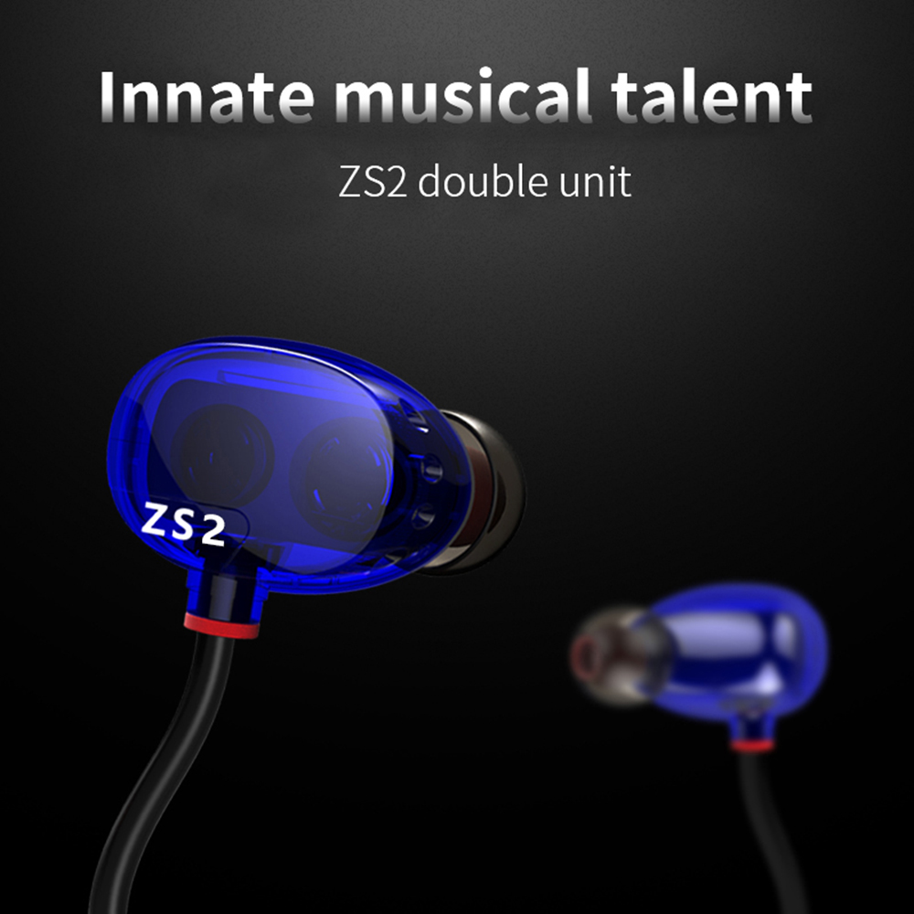 ZS2 HiFi Stereo Metal In-ear Wired Earphone Dual Dynamic Driver Monitoring Noise Cancelling Subwoofer Bass Earbuds  kz zs1 dual dynamic driver monitoring noise cancelling stereo in ear monitors headset hifi earphone with microphone for phone