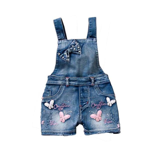 Summer Girls Bow Overalls Children Denim Rompers Child Butterfly Sweet  Jeans Straps Short Pants  Kids Cotton baby girl cloths