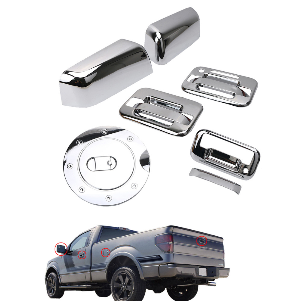 Wisengear chrome top half mirror cover 4door handle cover tailgate cover gas cover