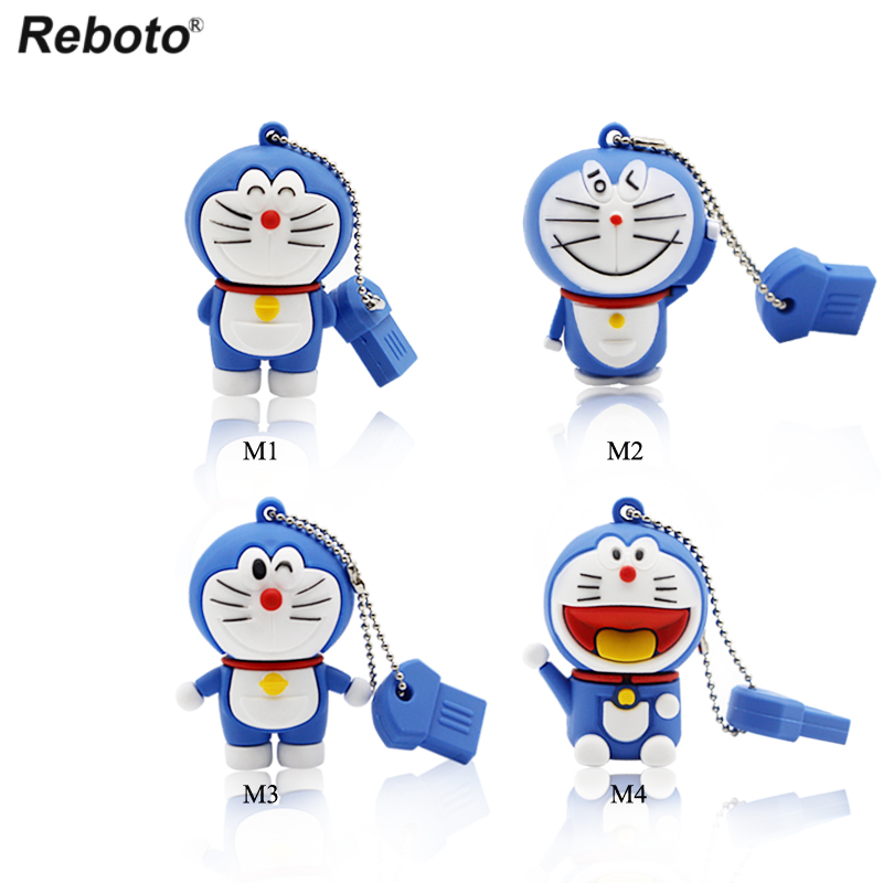 Cartoon USB 2.0 Doraemon USB Flash Drive 64GB Cat Memory Stick 32GB Pen Drive 16GB Pendrive 8GB USB Disk 4GB Thumb Drive